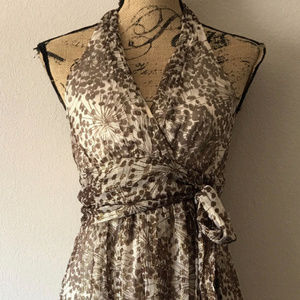 BCBG MAX AZRIA SILK METALLIC GOLD FOILED DRESS